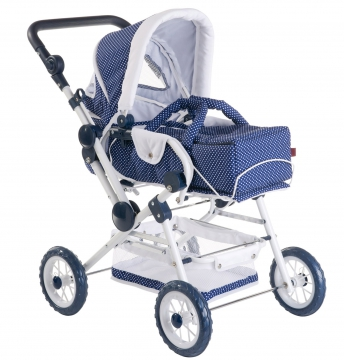 Doll's pram, blue & white