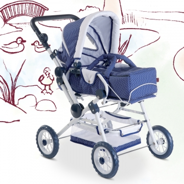 Doll's pram Spotty Blue