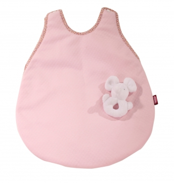 Sleeping bag with cuddly mouse, pink