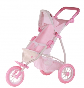 Doll's buggy, spotted pale pink