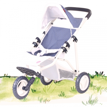 3-Rad Puppen-Buggy Spotty Blue