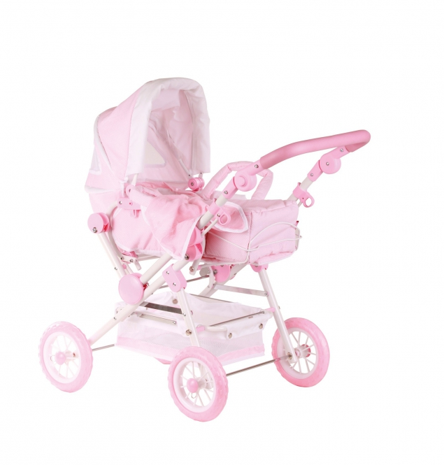 Doll's pram, spotted pale pink