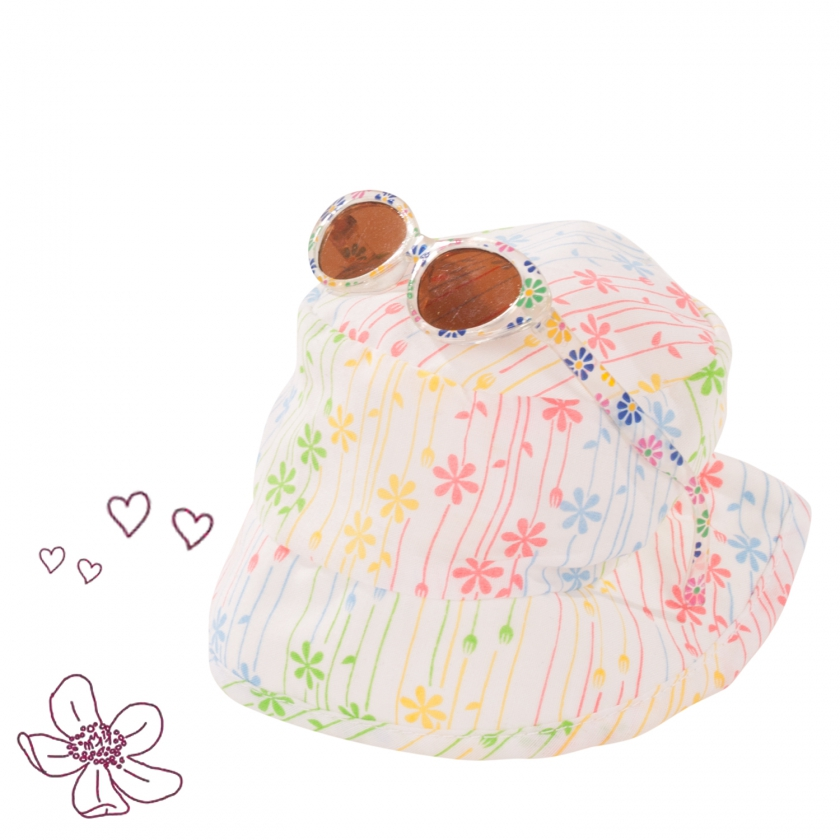 Hat and glasses set Flowers size S