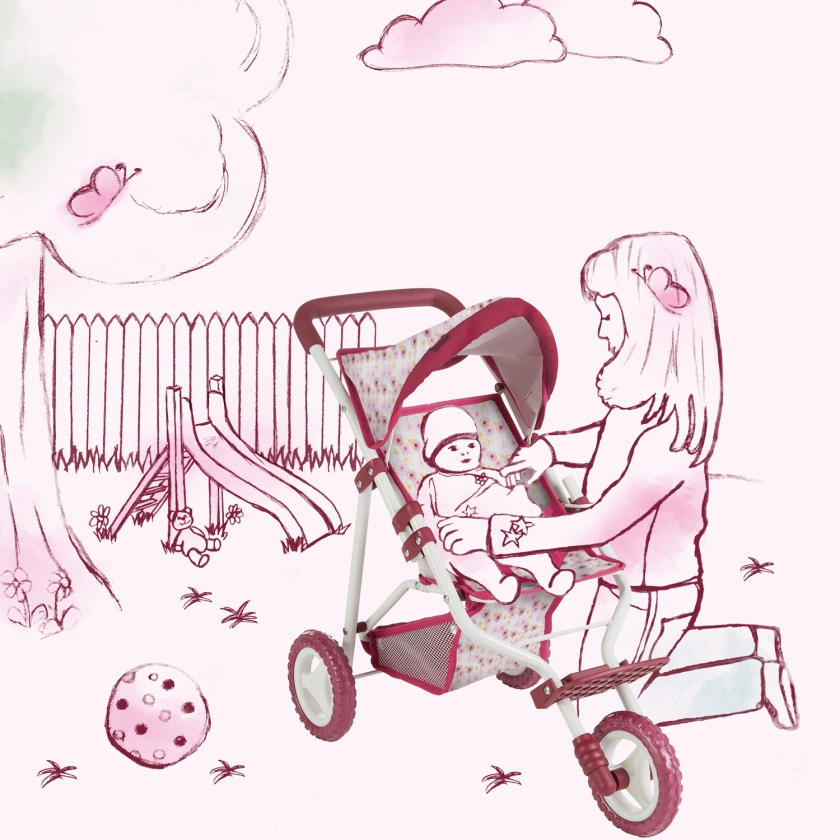3-wheel doll buggy Happy Flower