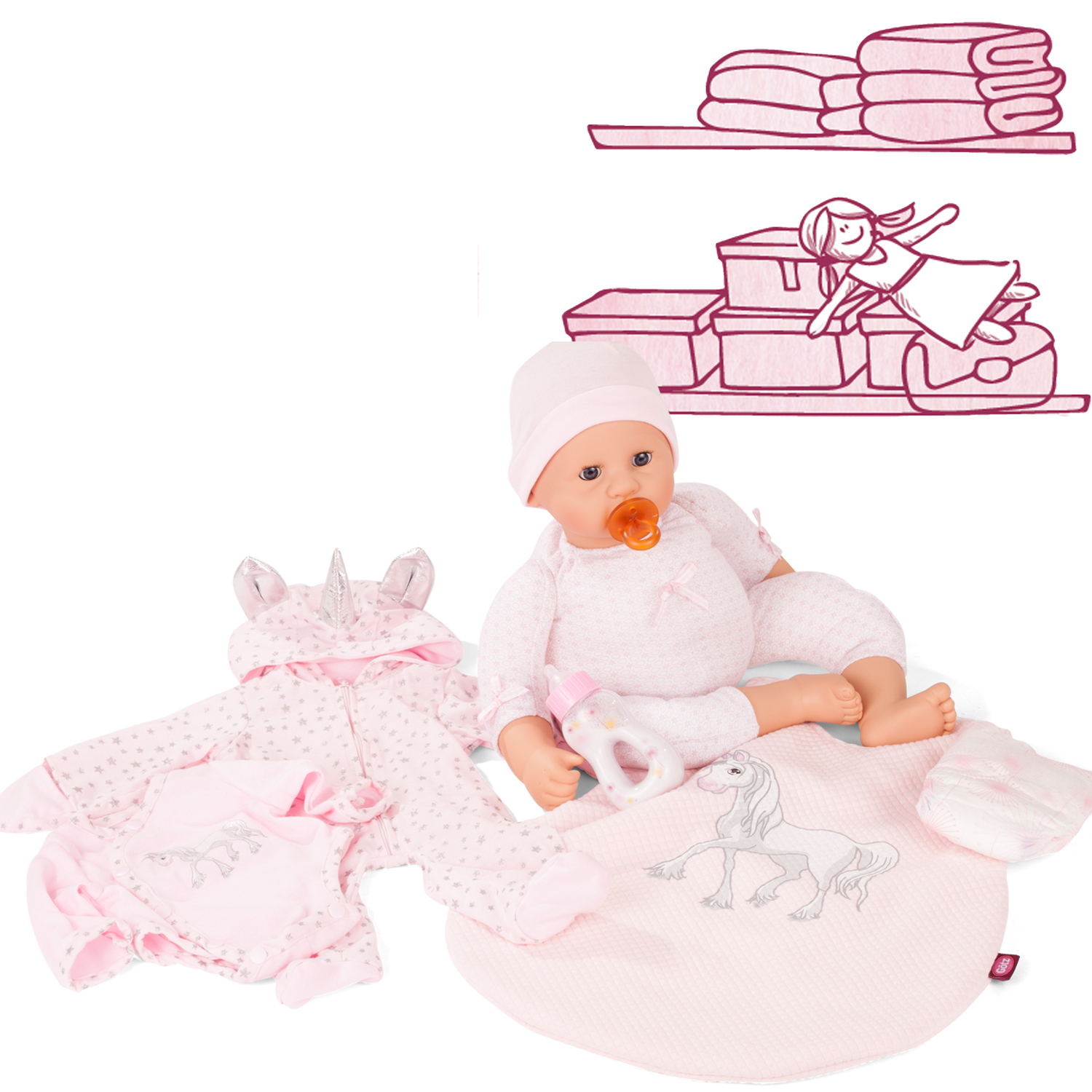 Gotz Pink Denim Outfit to fit Gotz Cookie or other 48cm Baby Dolls